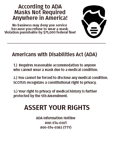 Mandatory Mask Rights Flyer For Individuals and Businesses